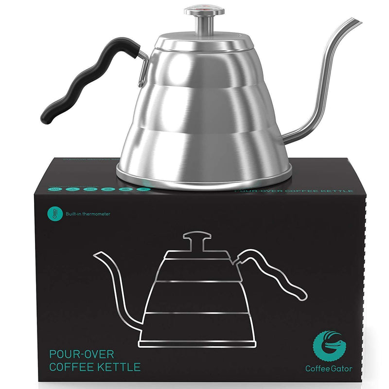 Coffee Gator Pour Over Kettle - With Gooseneck Spout and Thermometer (40floz)