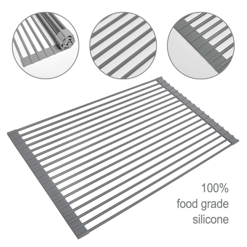 Roll Up Dish Drying Rack, Foldable Over the Sink Drying Rack [Large 20.5''x13.2''], Multipurpose Kitchen Sink Drainer - Silicone & Stainless Steel by Gosmol (Gray)