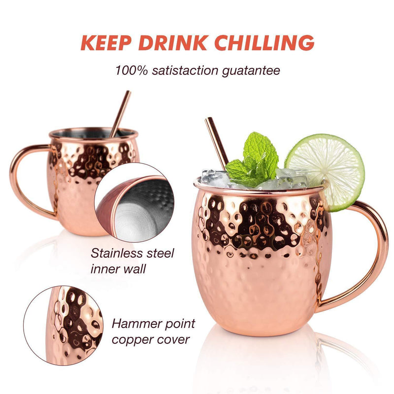 Moscow Mule Copper Mugs, Set of 4-100% HANDCRAFTED, Food-safe Copper Mugs 16 Ounce with Brass Handle and Stainless-Steel Lining, Highest Quality Cocktail Copper Strawsand Jigger
