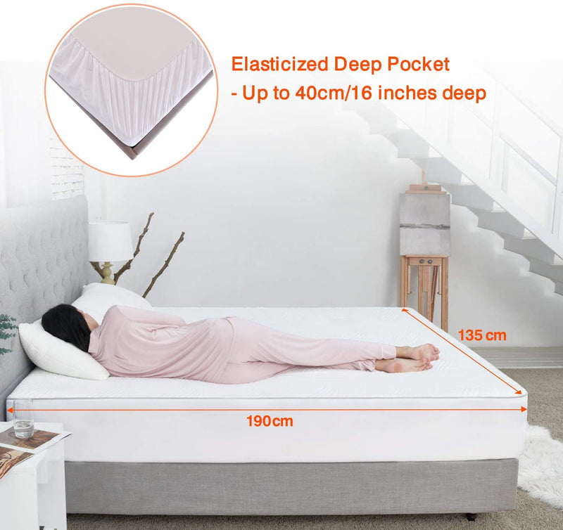 Sweetnight Single Mattress Protector- 100% Waterproof Mattress Protector Single Bed, Quilted Bamboo Mattress Protector Fitted Extra Deep 40cm Breathable Anti Allergy Mattress Cover 90x190cm
