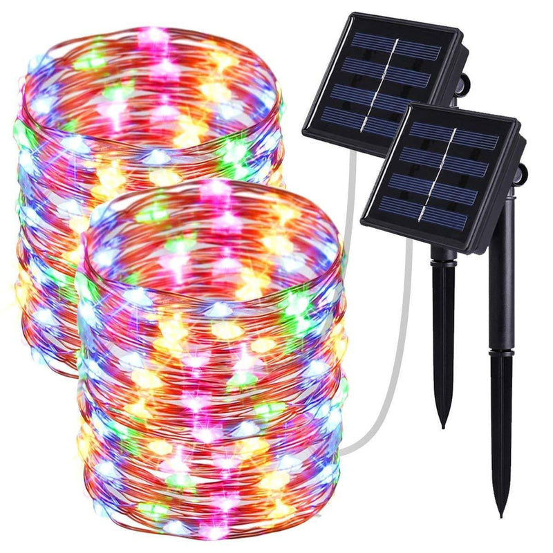2 Pack Solar String Lights, 33ft 8 Modes Copper Wire Lights, 100 LED Starry Lights, Outdoor String Lights, Waterproof Decorative String Lights for Patio, Garden, Yard, Party, Wedding, Christmas.