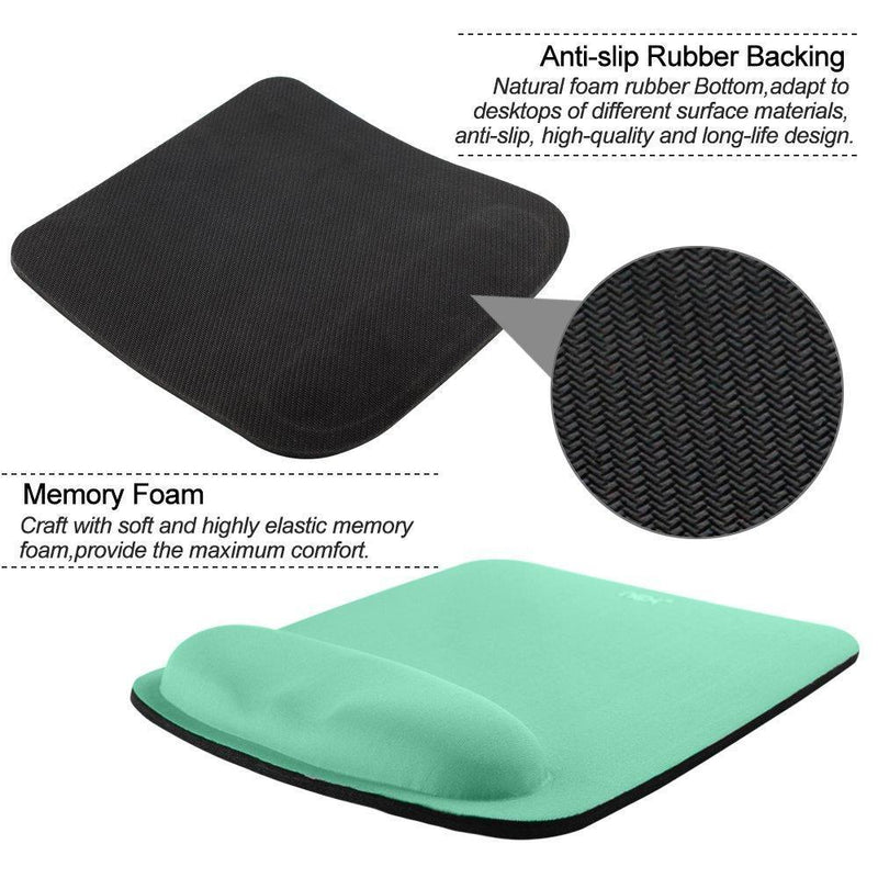 Nex Mouse Mat with Wrist Rest Pad Mouse Pad Keyboard Mouse Memory Foam Stress(mint green)