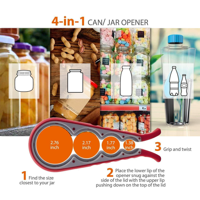 Bottle Can and Jar Grip Opener, 5-in-1 and 6-in-1 Multi Kitchen Tools Set and 4-in-1Jar Grip Opener, Lid Seal Remover Lid Twist Off for Children, Elderly, Weak Hand and Arthritic, Pack of 3