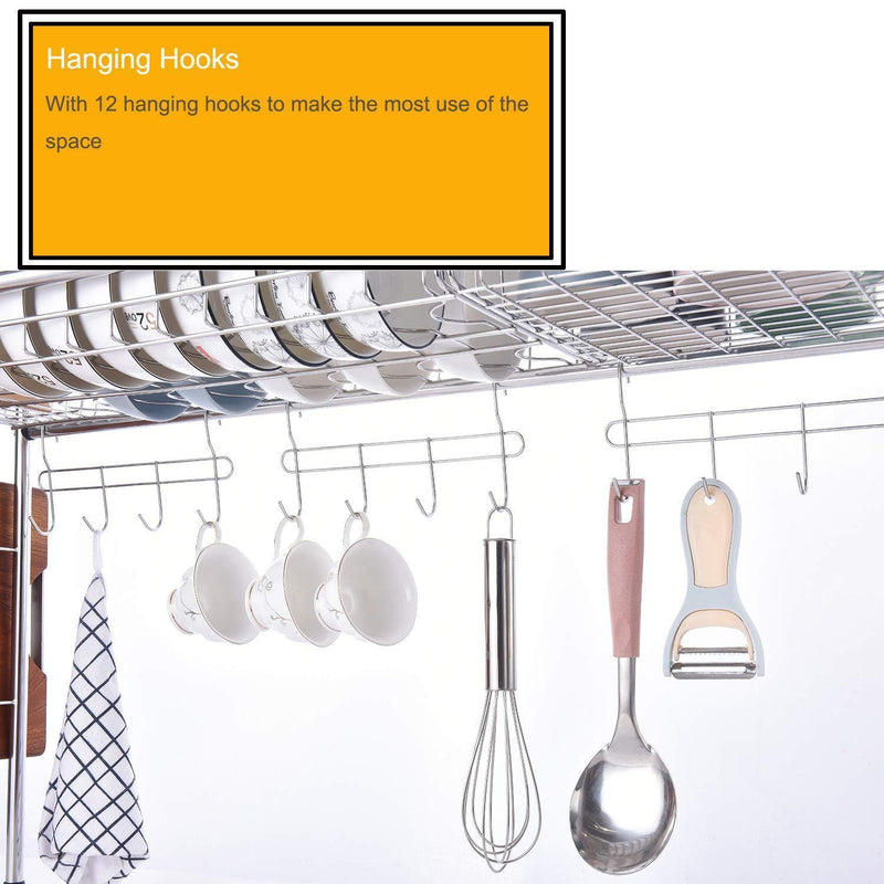 1208S 304 Stainless Steel Over Sink Drying Rack Dish Drainer Rack&Kitchen Organizer (Double Groove-Double-layer)