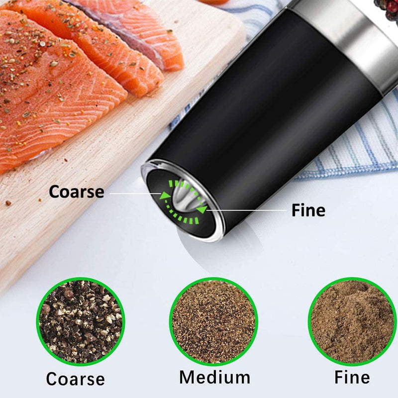 Rongyuxuan Gravity Electric Salt and Pepper Grinder Set, Automatic Pepper and Salt Mill Grinder Battery-Operated with Adjustable Coarseness, LED Light, One Hand Operated