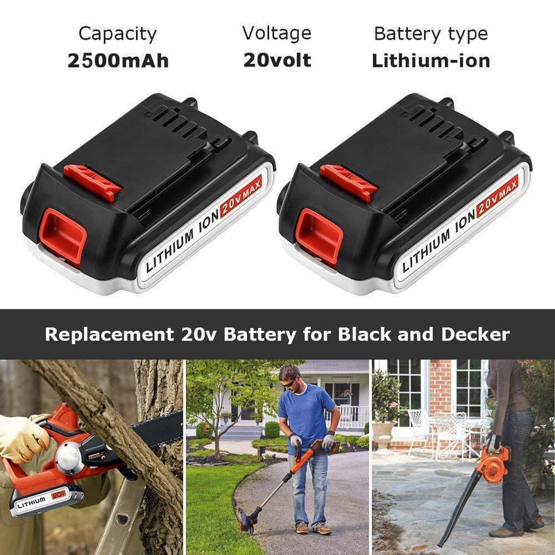 [Upgraded 2500mAh] LBXR20 Replacement for Black and Decker 20V Battery Max Lithium LBXR20-OPE LB20 LBX20 LBX4020 LB2X4020-OPE Cordless Power Tools 2 Packs