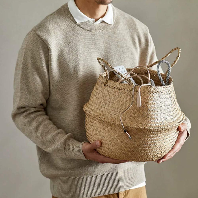 Welcare Natural Woven Seagrass Tote Belly Basket for Storage, Laundry, Picnic, Plant Pot Cover, and Beach Bag (Natrual)