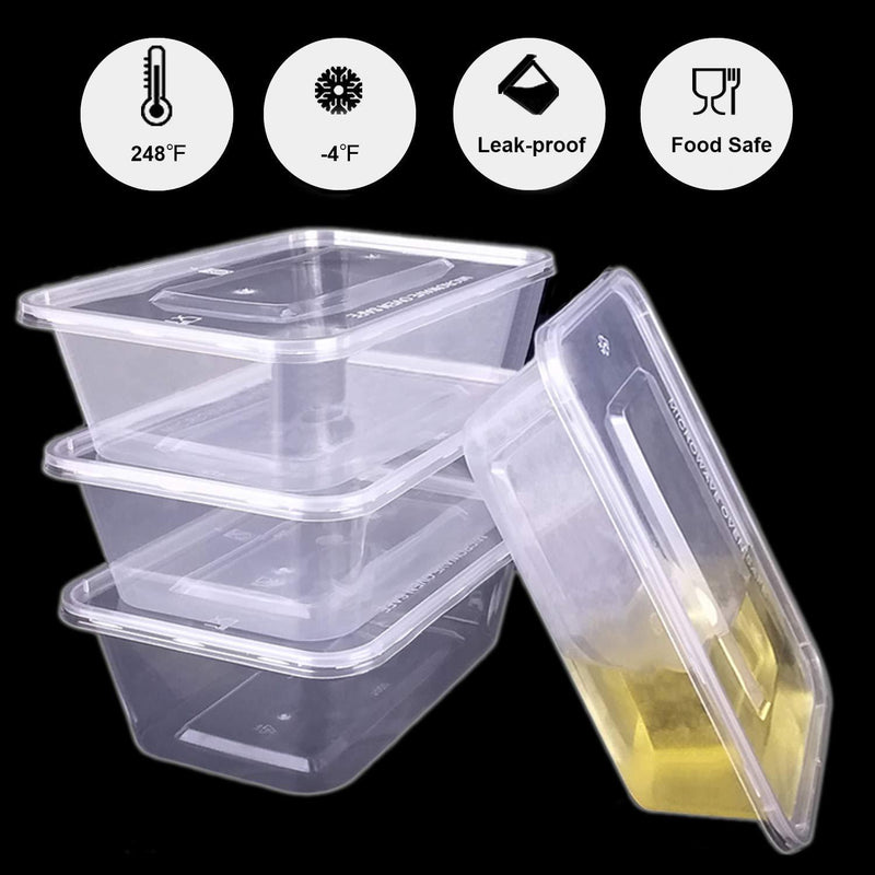 Tosnail 50 Pack 25 oz. Plastic Food Storage Containers with Lids Meal Prep Containers - Clear