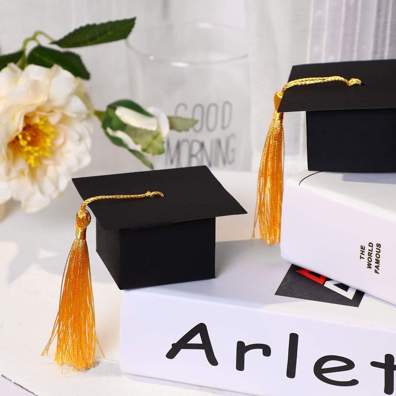 100 Pieces Graduation Cap Shaped Gift Box Grad Cap Candy Sugar Chocolate Box with Tassel for Graduation Party Favor Accessories (Yellow, 100 Pieces)