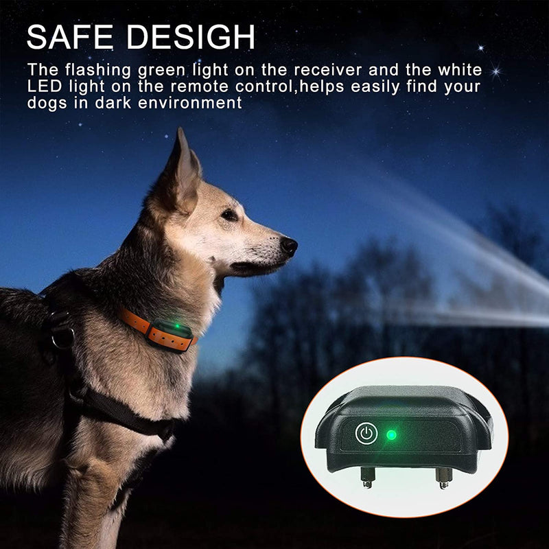 iDogin Dog Training Collar, Rechargeable Collar with Remote 2500ft Range with Beep Vibra LED Light, Waterproof IPX7 Electric Dog Collar for Medium Large Dogs