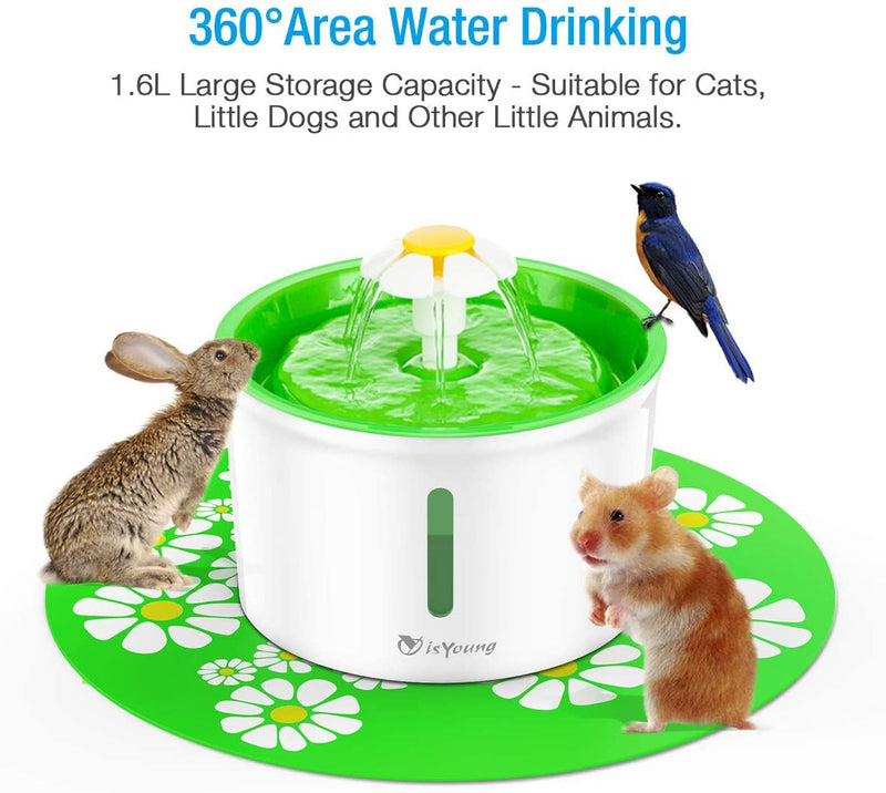 Toozey Cat Fountain 1.6L Automatic Pet Water Fountain Pet Water Dispenser, Dog/Cat Health Caring Fountain and Hygienic Dog Fountain