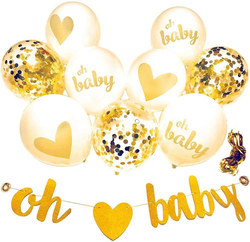 "Baby Shower Decorations Neutral Decor Strung Banner""Oh"" and""Baby"" & 9PC Balloons w/Ribbon [Gold, Confetti, White] Kit Set by YouParty"
