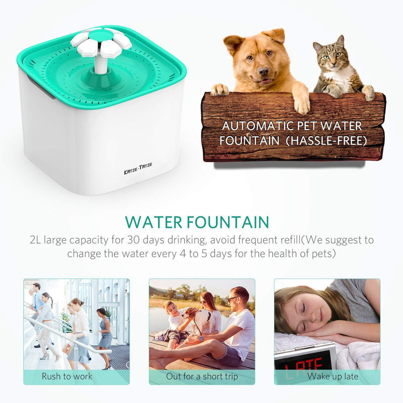Katzetatze Pet Fountain Cat Water Dispenser, Healthy And Hygienic Drinking Fountain 2L Super Quiet Automatic Water Bowl With Filter For Cats, Dogs, Birds And Small Animals (Pet Fountain)