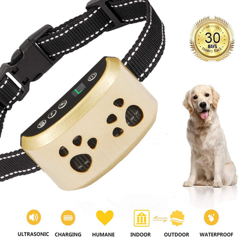 SiBeiXuan Dog Bark Collar-7Adjustable Sensitivity and Intensity Levels-Dual Anti-Barking Modes-Rechargeable-Rainproof-No Barking Control Dog Shock Collar for Small Medium LargeDogs (Gold)