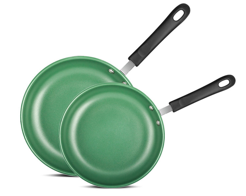 "Chef's Star Frying Pan Non stick Ceramic Omelette Cooking Set - Even Heat Saute Pan/Skillet Set - Supreme Frying Pans 10"" and 8"" inch Cookware Set - Green"