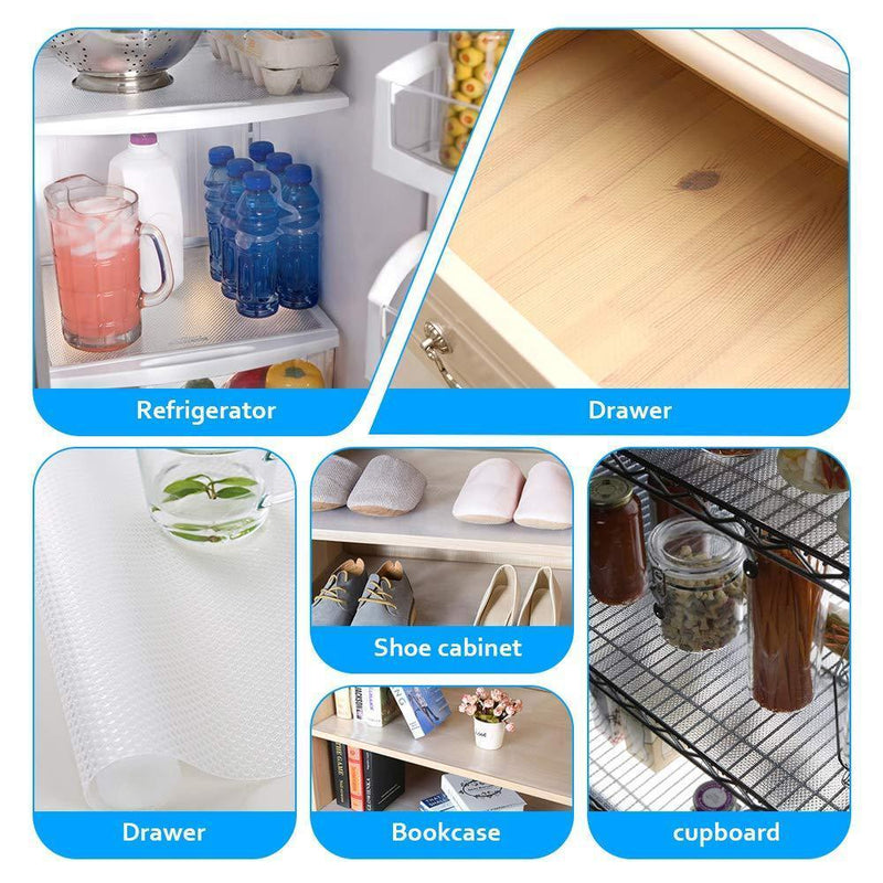 amorus 3 Rolls EVA Shelf Liners for Kitchen Cabinet Drawer Non-Adhesive Clear Refrigerator Liners for Shelves Washable Pad Mat, 17.7 x 59 inches - Transparent