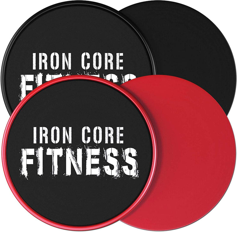 Iron Core Fitness 2 x Dual Sided Core Sliders Ultimate Core Trainer | Gym, Home Abdominal & Total Body Workout Equipment | for use on All Surfaces