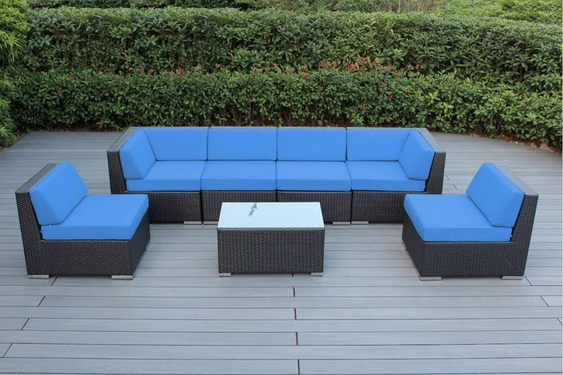 Ohana 7-Piece Outdoor Patio Furniture Sectional Conversation Set, Black Wicker with Gray Cushions - No Assembly with Free Patio Cover
