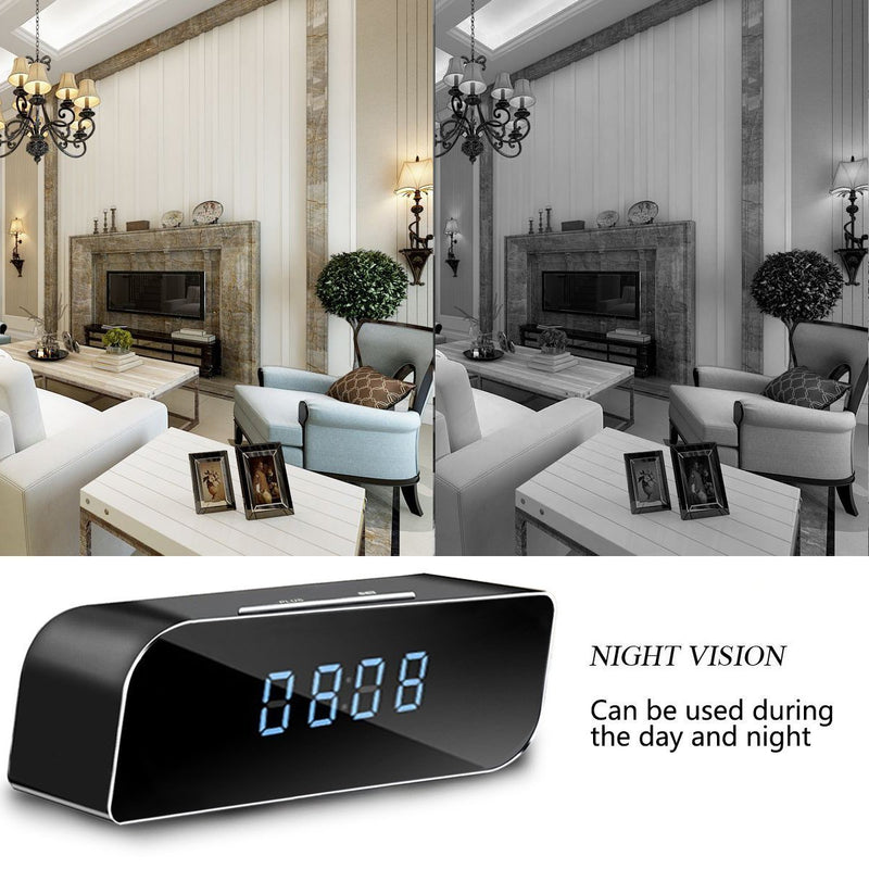 QUANDU WiFi Hidden Camera Alarm Clock Hidden Spy Camera Night Vision Mini Alarm Clock Camera DVR Nanny Cam With Motion Detection Secret Camera Security Camera for Home Security Surveillance
