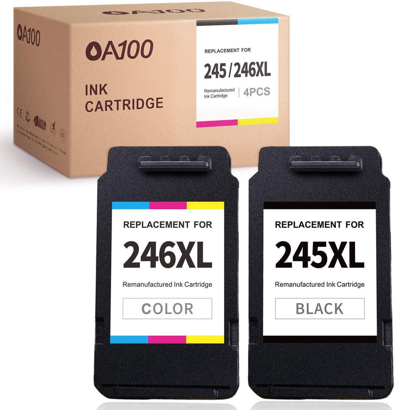 OA100 Remanufactured Ink Cartridges Replacement for Canon PG-245XL CL-246XL 245 246 XL for Pixma MX492 MX490 MG2522 TS3122 MG2520 MG3022 TS202 MG2922 MG2920 TS3020 IP2820 (1 Black, 1 Tri-Color)