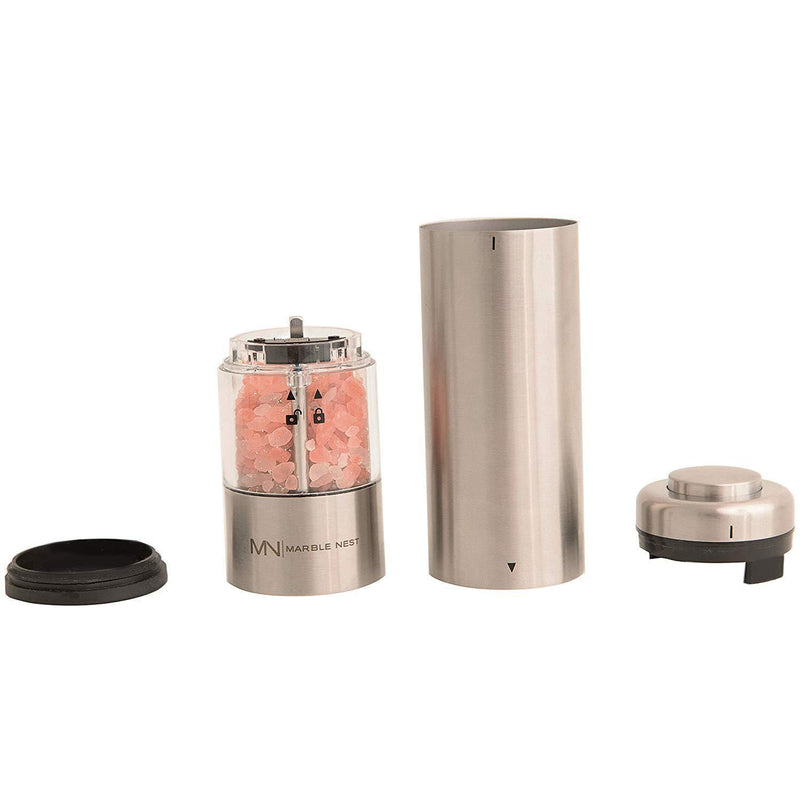Electric Salt and Pepper Grinder Set (Battery Operated) by Marble Nest - Premium Stainless Steel with Stand - LED Light - Ceramic Mill - Adjustable Fine to Coarse Knob - Separate Battery Compartment