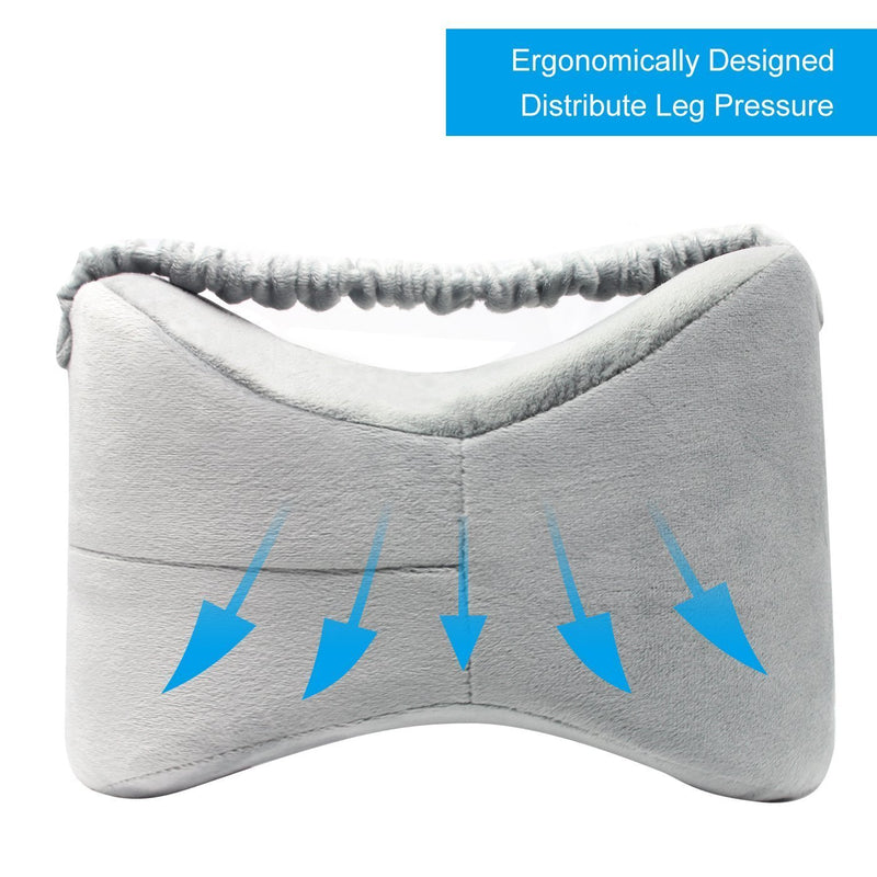 Aocome Knee Pillow for Side Sleepers - Ergonomically Designed for Back Pain, Sciatic Nerve Pain Relief, Leg Pain, Pregnancy and Joint Pain - Memory Foam Leg Pillow (Bonus Sleep Mask)