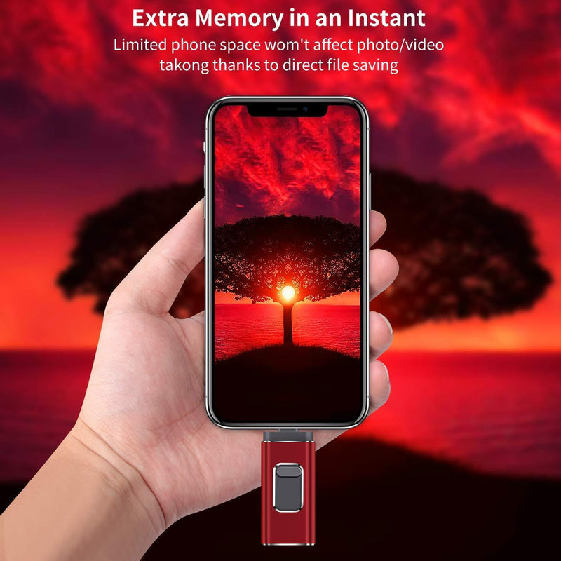 USB Flash Drive for iPhone 128gb Memory Stick LTY Photo Stick USB 3.0 Jump Drive Thumb Drives Externa Lightning Memory Stick for iPhone iPad Android and Computers (red-128GB)