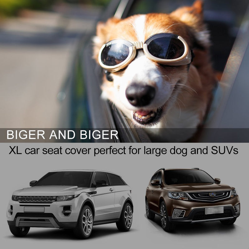 EASJOY Dog Seat Cover, Luxury XL Large Car Seat Covers for Pets Pet Seat Cover Dogs Hammock 100% Waterproof Backseat Dogs Cover with Pet Seat Belts and Metal Hooks, Special for Jeeps Trucks SUVs