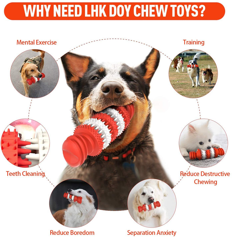 ComfiTime Dog Chew Toys - Dog Toys for Aggressive Chewers Toughest Natural Rubber - Dog Toothbrush Toys Interactive Dog Toys for Puppies and Medium & Large Dogs - Dental Care Teeth Cleaning Toy for Dogs (Red)