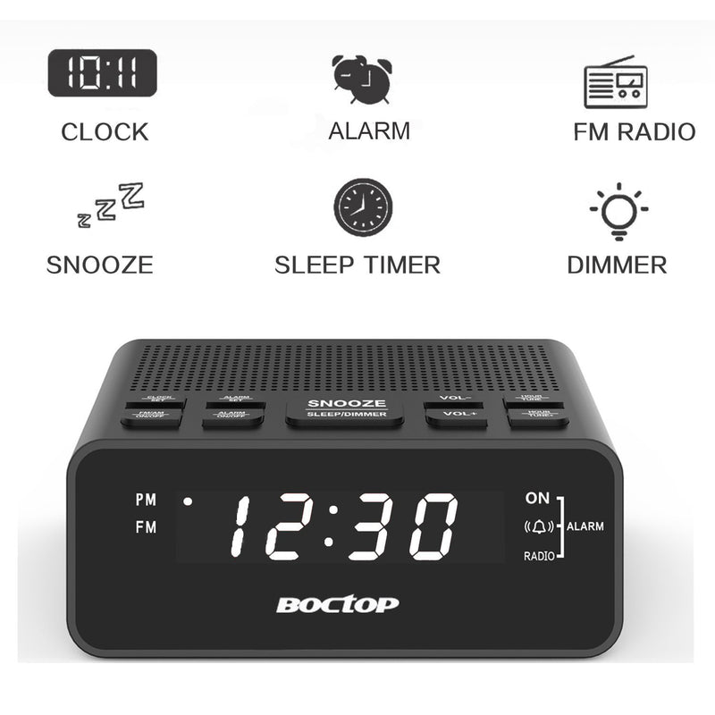 BOCTOP Digital LED Alarm Clock Radio with Sleep Timer FM Radio, 2A USB Charging Port, Dimmer, Snooze for Bedrooms
