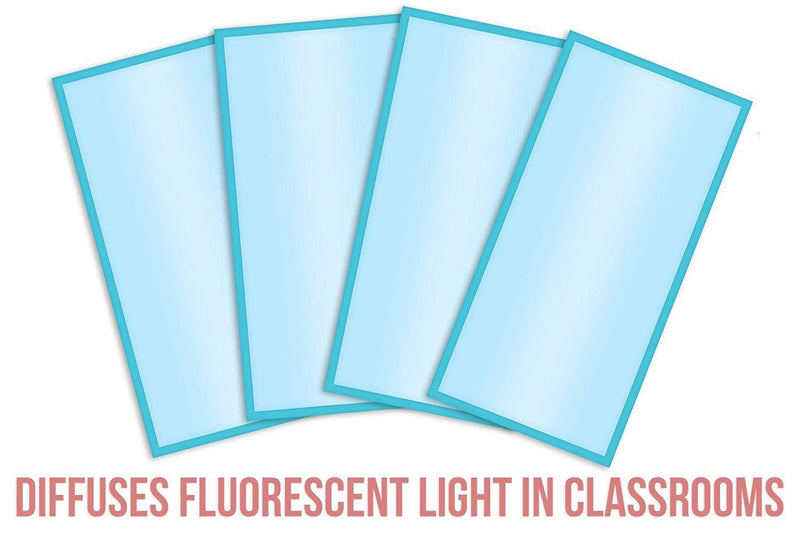 Fluorescent Light Covers Cozy Shades - Softening Light Filter, Light Diffuser for Game Room, Classroom, Office, Kids Bedrooms, or Hospital Room 48 x 24 inches - Set of 4 - Tranquil Sky Blue