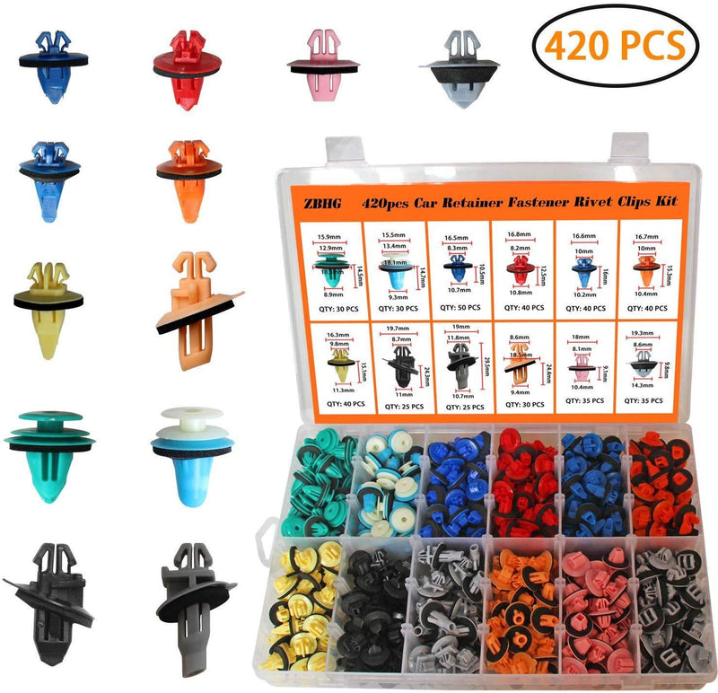 Auto Body Retainer Clips Plastic Fasteners Push Rivets Clips Set Tailgate Handle Rod Clip 19 MOST Popular Sizes Door Trim Panel Clips 460 PCS With 1 Plastic Fastener Remover For GM Ford Chevy Toyota