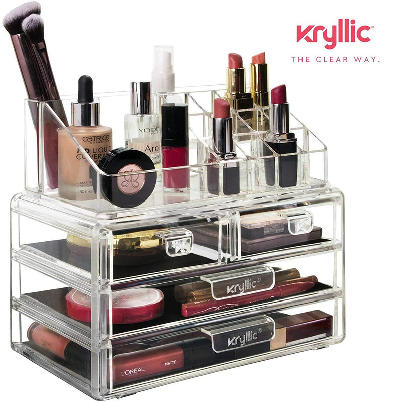 Acrylic Vanity Makeup Cosmetic Organizer -16 slot 4 box drawer storage organizers for make up brushes lipstick lipgloss brush palette! Countertop organization holder for bathroom & bedroom accessories