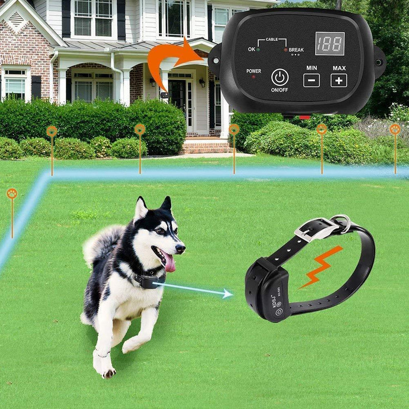 COVONO Invisible Fence for Dogs,Underground Electric Dog Fence with 650 Ft Wire (in Ground Pet Containment System,IP66 Waterproof and Rechargeable Collar,Shock/Tone Correction)