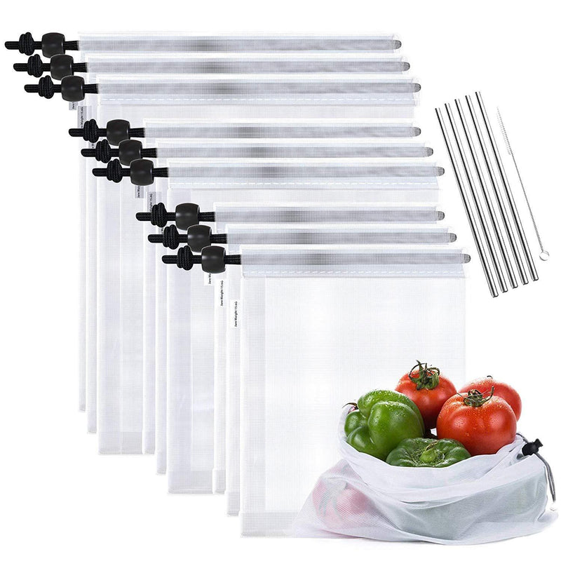 Max K Reusable Mesh Produce Bags for Grocery and Food Storage with Stainless Steel Straws, 14 Pack (9 x Bags, 5 x Straws)