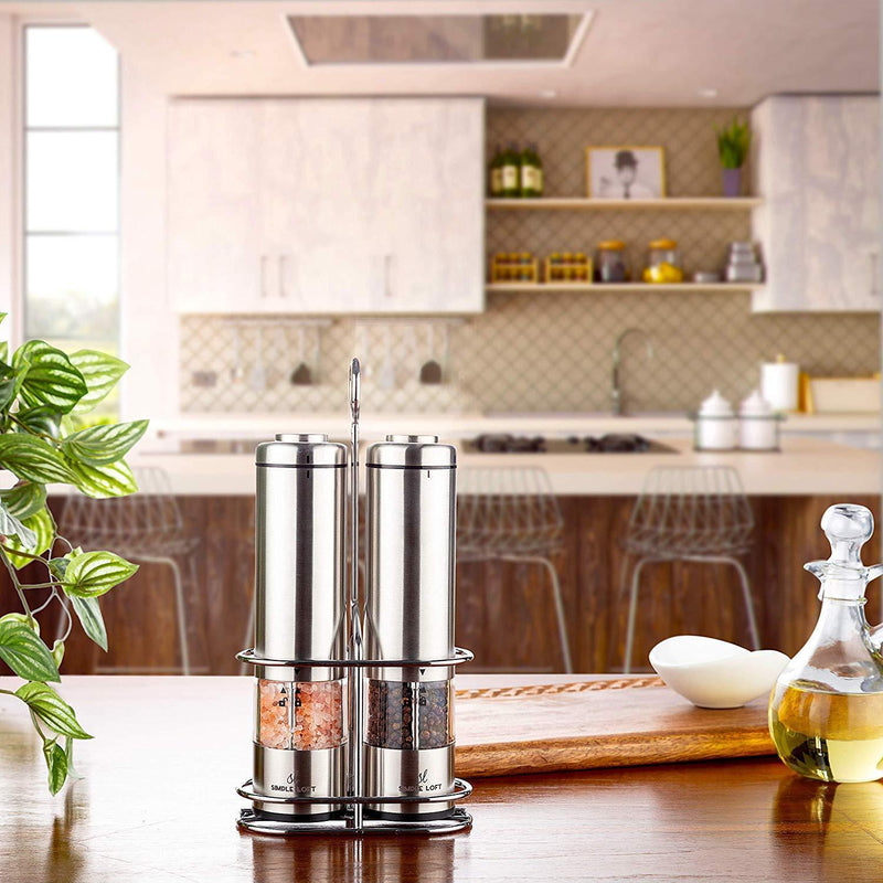 SIMPLE LOFT Salt and Pepper Grinder Electric Set - Automatic Stainless Steel Battery Powered Mills with Light and Metal Stand (2019)