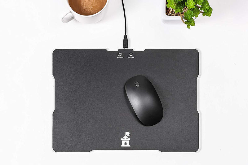 Moat Mouse Pad with LED Lighting Effects - Large Speed Surface with Backlit Perimeter and Logo for Gaming - Hard Mouse Mat Optimized for All Computer Mouse Sensitivity and Sensors