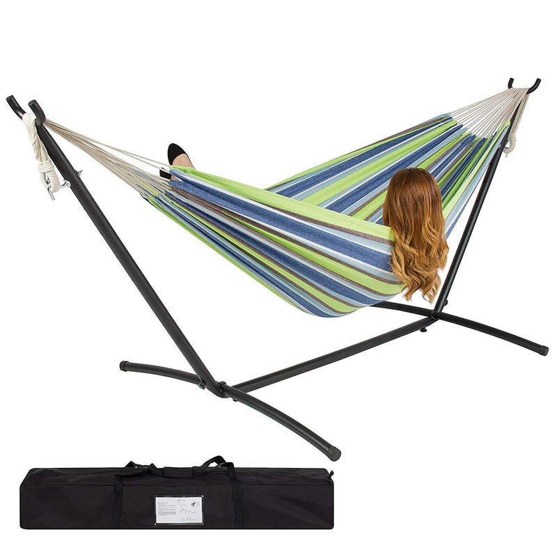 Double Hammock with Space Saving Steel Stand Includes Portable Carrying Case by Best Choice Products