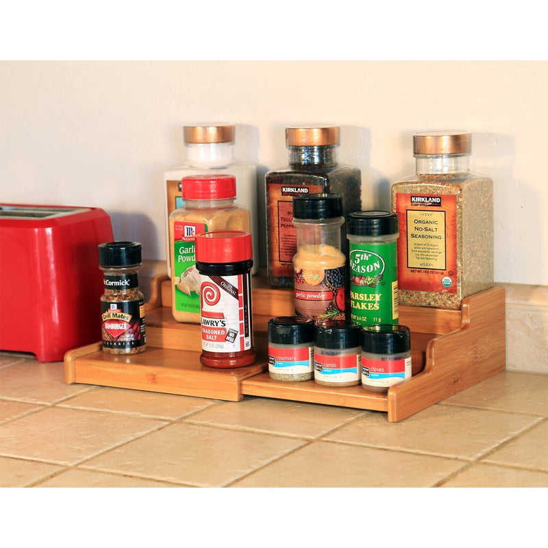Seville Classics 3-Tier Expandable Bamboo Spice Rack Step Shelf Organizer, Large