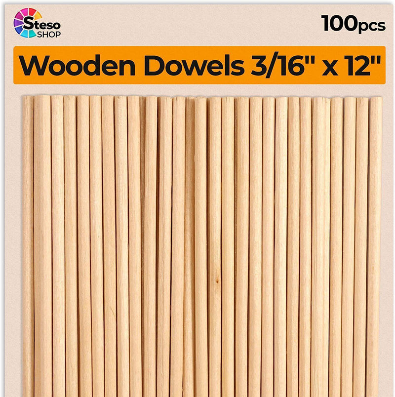 "Dowel Rods 3/16 12 inch - Hardwood Dowels for Crafts 100 pcs Sturdy Unfinished Natural - Wedding Ribbon Wands 12"" 3/16"""