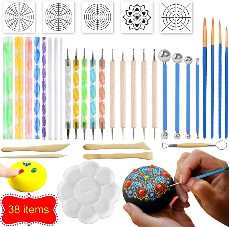 MILTECH 3HART 38PCS Mandala Dotting Tools for Painting Rocks, Stone Painting Mandala Dotting, Dotting Tools for Painting Mandalas, Rock Supplies Dotting with Stencils Template and Clay Sculpting Tools