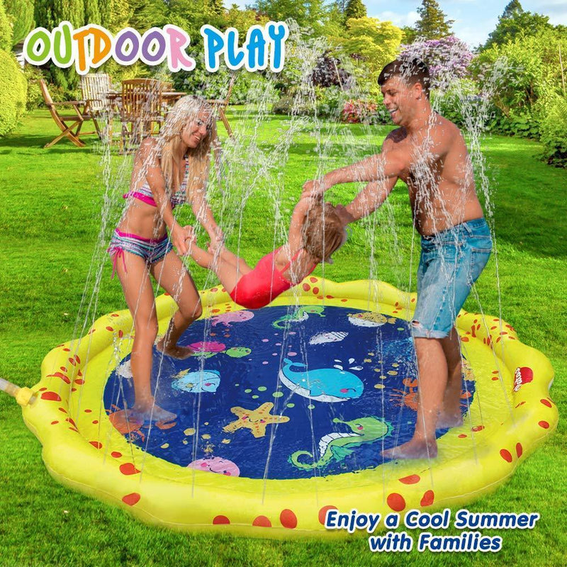 "VATOS Sprinkle and Splash Play Mat Outdoor Party Sprinkler Splash Pad 59"" Garden Water Toys Summer Spray Toys 18 Months+ Toddler Toy Fun for Kids 2 3 4 5 Boys and Girls"