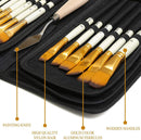 DUGATO Artist Paint Brush Set 15pcs Includes Pop-up Carrying Case with Free Palette Knife and 2 Sponges