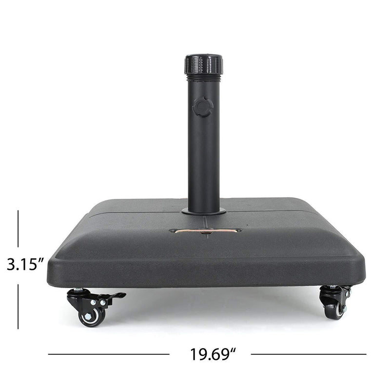 Great Deal Furniture | Hercules | Concrete Umbrella Base with Wheels | Square | 80LBS | in Black