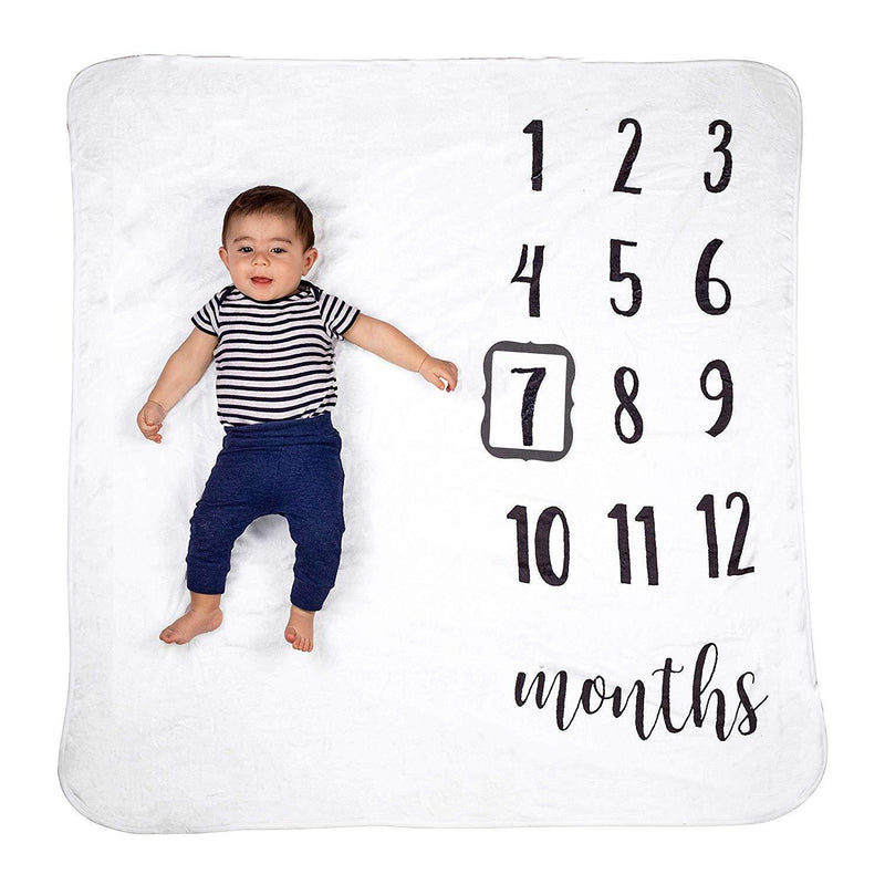 "Soft Fleece Baby Monthly Milestone Blanket Boy & Girl w/Photo Prop Set | 47""x47"" Large Photography Background Blanket for 1-12 Months 