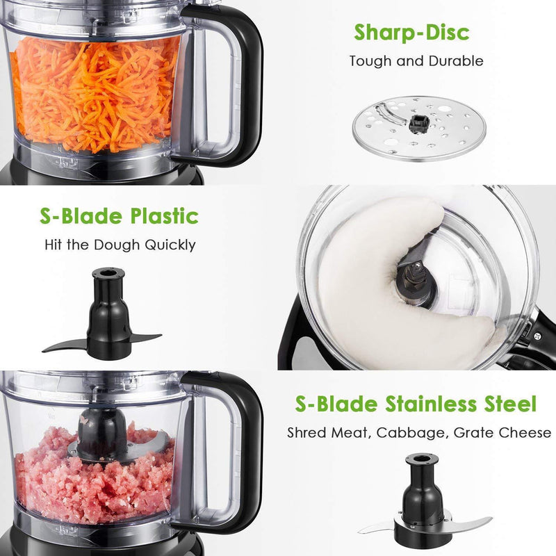 Food Processor 12-Cup, Aicok Multifunction Food processor, 1.8L, 3 Speed Options, 2 Chopping Blades & 1 Disc, Safety Interlocking Design, 500W, Black by Aicok