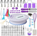 137 PCS Russian Cake Decorating Supplies Kit, Baking Pastry Tools, Piping tips and Bags, Non-stick Cake Turntable, Cake Leveler, Icing Spatulas and Scrapers, Fondant Press, Measuring Spoon, Cake Pen