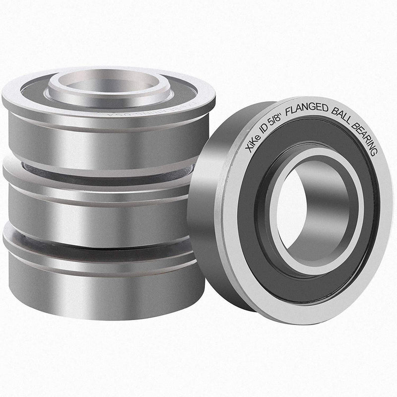 "XiKe 4 Pack Flanged Ball Bearing ID 5/8"" x OD 1-3/8"", Lawn Mower, Wheelbarrows, Carts & Hand Trucks Wheel Hub for Suitable, Replacement for Snapper, Stens, JD, Snapper, MTD, Marathon & AYP Etc."