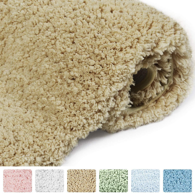 "Norcho 31"" x 19"" Soft Shaggy Bath Mat Non-slip Rubber Bath Rug Luxury Microfiber Bathroom Floor Mats Water Absorbent White"