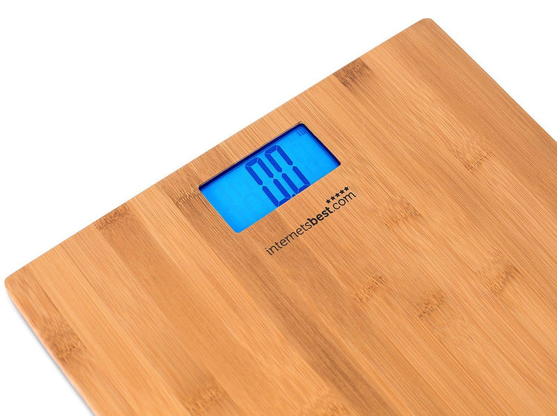 Internet's Best Bamboo Digital Body Weight Bathroom Scale | Bathroom Accessories | Real Bamboo | Eco Friendly | Wood Décor | Blue LCD Backlight | 400 lbs. Weight Capacity